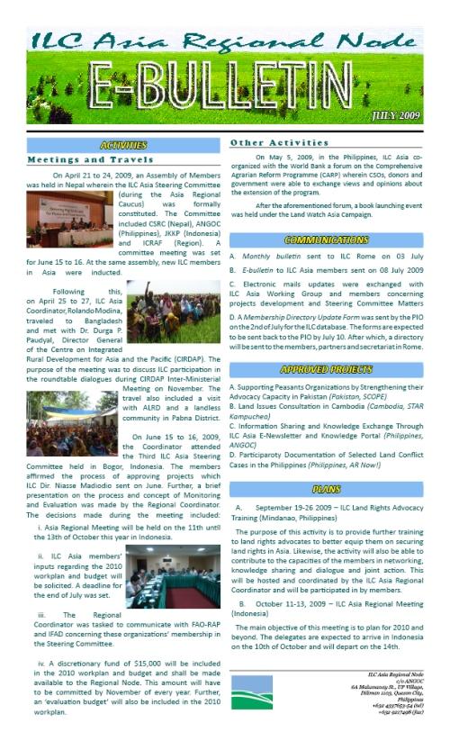 E-Bulletin (July 2009)
