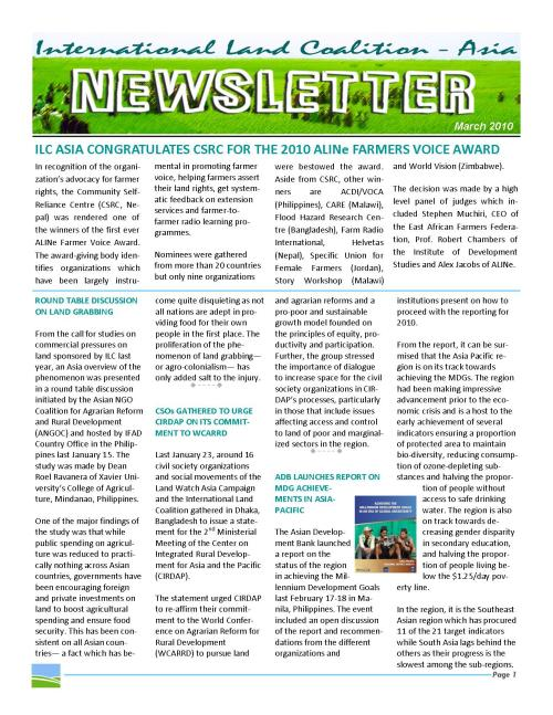 ILC Asia Newsletter (March 2010, Page 1)