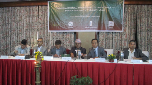 From Left to Right: Dr. Devendra Chapagain (Land Expert), Dr. Mahesh Banskota (Dean, School of Arts, Kathmandu University), Dipendra Bdr. Cheetri (Former Vice Chair , National Planning Commission & Former Governor, Nepal Rastra Bank), Keshab Badal (Chairman,  National Cooperative Federation Ltd. Nepal & Former Chair , High Level Land Reform Commission), Dr. Ganesh Gurung (Chair, COLARP & Former member, National Planning Commission) and Dr. Bishnu Raj Upreti  (Regional coordinator, South Asia Regional Office, NCCR) at Transnational Pressure on Land (TPL) and Food Security in South Asia held on 8 May 2013.