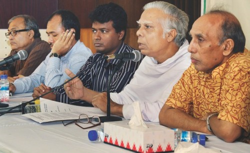 Speakers at the conference held in The Daily Star center